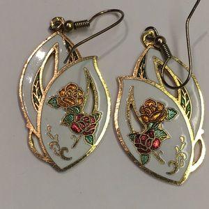 Gold Cloisonné Rose Earrings